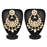 #4: The Luxor Traditional Gold Plated Stylish Fancy Party Wear Dangler Chandbali Pearl Kundan Earrings for Women & Girls
