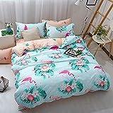 DXSX Bettwäsche Set 3Teilig Flamingo Muster Polyester-Baumwolle Bettbezug-Set Kinderjunge Mädchen und Erwachsener Bettbezug und Kissenbezug Einzelbett Doppelbett King Size (Grün, 135x200cm)