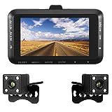 QUORA 7,6cm 1080P Dual Linse Kamera Motorrad DVR Dash Cam Video Recorder Nachtsicht