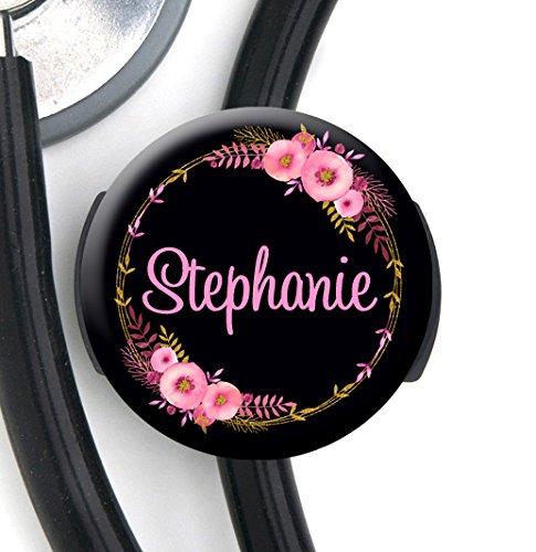 Stethoskop Tag-Pink Gold Floral-personalisiertem Namen-steth ID Tag/Krankenschwester Badge (Stethoskop Id-tag)