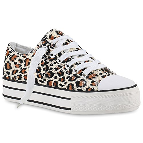 Damen Plateau Sneaker | Prints Metallic | Plateauschuhe 90s Look | Sneakers Stoffschuhe | Schnürer | Prints Blumen Lack Glitzer Braun Muster Plateau