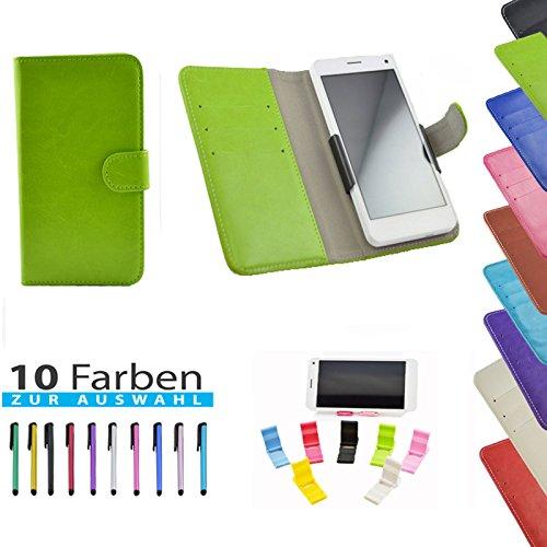 5 in 1 set Slide Tasche Hülle Case Cover Schutz Cover Etui Grün für Phicomm Clue L / C630