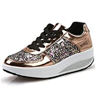 MINBEI Womens Trainers Slimming Walking Shoes Sneakers Fitness Wedges Shoes Womens 5.5 UK 3-Gold