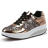 QZBAOSHU Damen Abnehmen Walkingschuhe & Turnschuhe Fitness Keile Plattform Schuhe Sneakers 37 EU 3-Gold