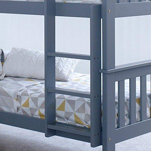Happy Beds Atlantis Bunk Bed Grey Wooden Kids with 2 x Memory Foam Mattresses 3' Single 90 x 190 cm