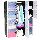 Leapair Stufenregal Regalsystem Kleiderschrank Steckregal Kommode Steckschrank 12-Modulfächer Schrank DIY