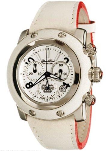 Glam Rock GR10118 - Reloj cronógrafo unisex de cuarzo con correa de piel blanca - sumergible a 100 metros