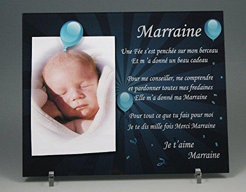 Cadre Photo Aimant pour Marraine - (Cadeau Parrain Marraine Baptême & Communion)
