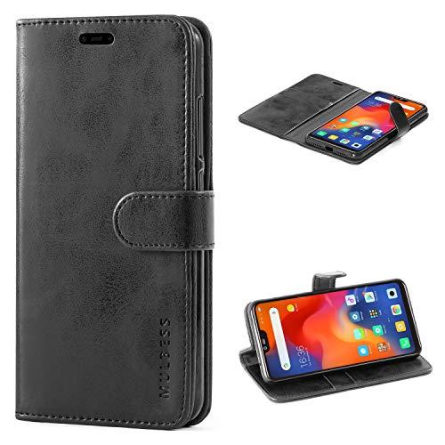 Mulbess Handyhülle für Xiaomi Mi 8 Lite Hülle, Leder Flip Case Schutzhülle für Xiaomi Mi 8 Lite Tasche, Schwarz
