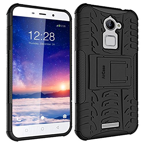 AirCase CoolPad Note 3 Lite Hybrid Military Grade Armour Defender Series Rugged Back Case Cover with Flip Kick-Stand Case Cover for CoolPad Note 3 Lite[Black]