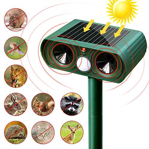 SunTop Ultraschall Tiervertreiber, Solarbatterie Katzenschreck, Cat Repeller, Wasserdichtes Tierabwehr Garten mit Bewegungssensor und Blinklicht für Katzen, Hunde, Vögel, Eichhörnchen, Molen, Ratten