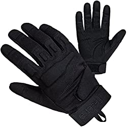 Freetoo guantes para hombre de cuero de la PU / nylon negro