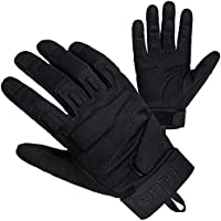 Freetoo Herren Sporthandschuhe, PU-Leder/Nylon, schwarz