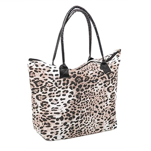 Beach Bag Womens Canvas Summer Tote Shoulder Bags Shopper for Girls ladies Animal Print (Leopard Brown)