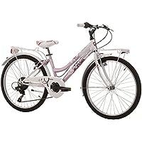 Bicicleta Cinzia Daisy de niña, estructura de acero, cambio de 6velocidades, ruedas de 61 cm, talla 38, niña, 8033389461294, Bianco/Rosa, 24