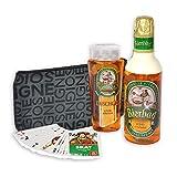 Originelle Geschenkidee für Männer - Bier Geschenk-Set Frühschoppen mit Bierduschgel und Schaumbad plus Skatkarten sowie Kulturtasche und Gästehandtuch