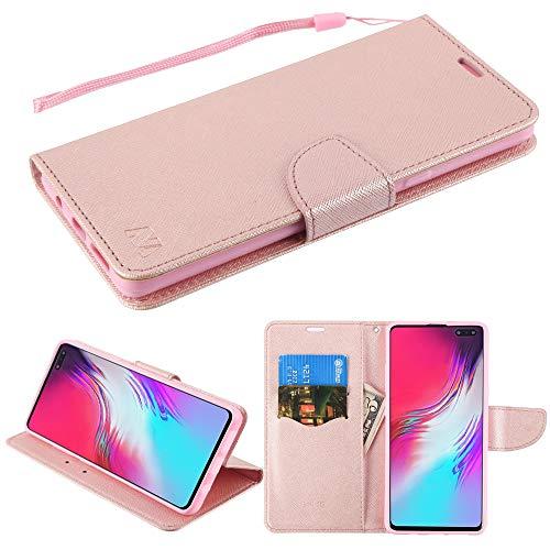 MYBAT Schutzhülle für Samsung Galaxy S10 5G (PU-Leder, mit Schlaufe und Lasche, mit Stylus), Rosa/Rotgold - Iphone Virgin Handy Mobile