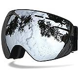 Benice, occhiali da sci, protezione UV professionale, con lenti staccabili e ampio obiettivo anti-appannamento, per uomo donna adulti, Adult Silver, Adulto