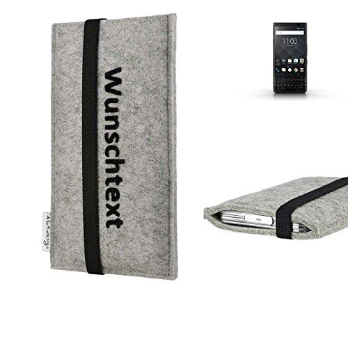 flat.design Handy Hülle Coimbra für BlackBerry KEYone Black Edition maßgeschneiderte Handytasche Filz Tasche Case schwarz grau