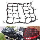 aochuang 38,1x 38,1cm Premium Latex Motorrad Rücken Stuff Cargo Mesh Cargo Net Helm Gepäcknetz mit 6verstellbaren Haken