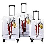 F|23, 3-tlg. Hartschalen Trolley-Set, 70 + 60 + 50 cm Trolleys, Mit Zahlenschloss, 4-Rollen-System, Sexy-Legs, Rot/Weiß, 77046-4