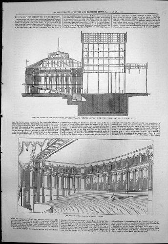 Étape 1876 d'Orchestre d'Amphithéâtre de Plan de Bayreuth de Théâtre de Wagner par original old antique victorian print