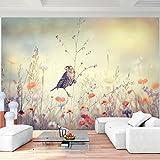 Fototapete Blumen Vogel 396 x 280 cm - Vlies Wand Tapete Wohnzimmer Schlafzimmer Büro Flur Dekoration Wandbilder XXL Moderne Wanddeko - 100% MADE IN GERMANY - 9334012a