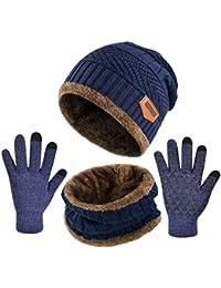 Yuson Girl Conjunto Set de Bufanda Gorro y Guantes de Punto Calentar Beanie Sombrero Gorras y Bufanda Tubular Cuello Suave Invierno para Hombre Mujer Corriendo Bici Excursionismo Deportes