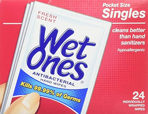 Wet Ones Antibacterial Hand Wipes Singles, , Fresh Scent, 24-Count (Pack of 5) by Wet Ones