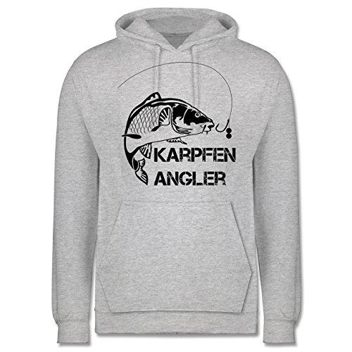 Shirtracer Angeln - Karpfen Angler - L - Grau Meliert - JH001 - Herren Hoodie (Teich Blauer Bio)