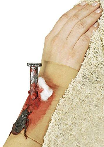 Armstrumpf mit blutigem Nagel und Kakerlake zu Karneval oder Halloween (Abgetrennte Hand Kostüm)