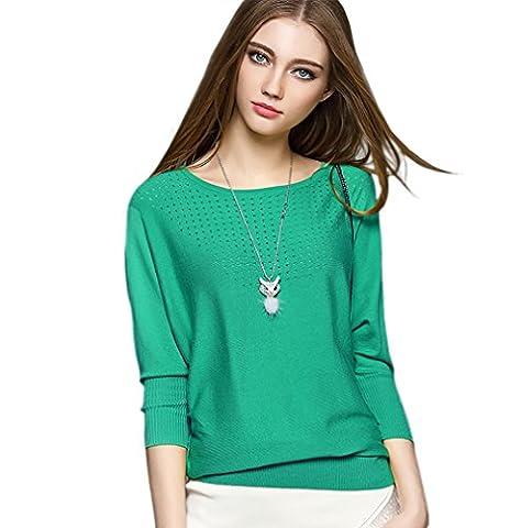 CoCo fashion Damen Casual Langarm Blusen Tops T-Shirt Pullover Rundhals Gestrickt mit weichem Griff