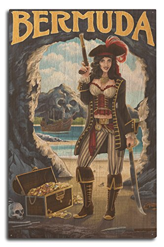 Bermuda - Pirat Pinup Girl, holz, mehrfarbig, 10 x 15 Wood Sign (Piraten Pin Up)