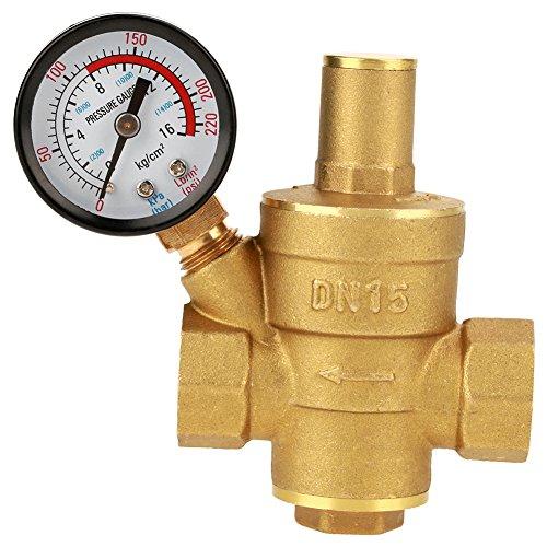 Regulador de presión de agua regulable de latón DN15 con medidor de calibre Combo para camper RV - Proteja la fontanería RV y mangueras de alta presión de agua de ciudad