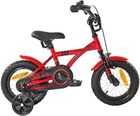 """PROMETHEUS Vélo enfant pour fils 12 pouces en rouge & noir avec petites roues   Frein à tirage et frein à rétropédalage   à partir de 3 ans   12"""" BMX Edition 2017"""