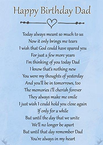 Biglietto di buon compleanno commemorativo con poesia per papà per