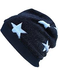 WOLLHUHN Warme Beanie-Mütze in dunkelblau mit hellblauen mit Sternen für Jungen und Mädchen, Wellnessfleece