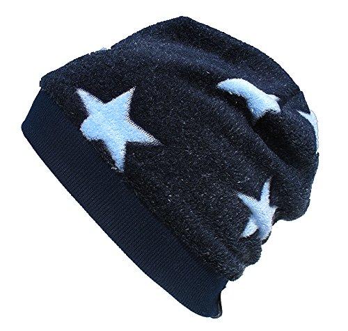 Wollhuhn Warme Beanie-Mütze in dunkelblau mit hellblauen mit Sternen für Jungen und Mädchen, Wellnessfleece, 53740047, Größe: XS: KU 42/46 (ca 6 Mon. bis 2 Jahre)