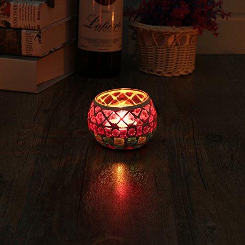 KING DO WAY Mosaic Glass Candle Holder Light Handle Tealight Candleholder Lantern Lamp Chimney Rhombus