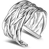 Hosaire Anillo de Plata de Trenzada Unisex de Apertura Metal-Ajustable