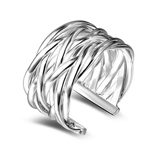 Wicemoon Femme Bague Réglable Simplicité Argent des anneaux Anneau de la Queue,Fantaisie Bijoux Bague de Fiançailles Femme Alliance Mariage Anniversaire