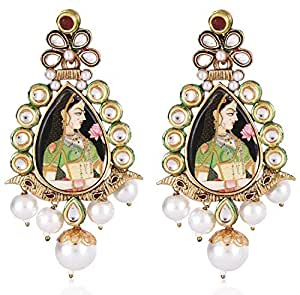 Bajirao Mastani Inspired Bollywood Jewellery Stylish Fancy Party Wear Kundan Earrings For Women and Girls by Shining Diva