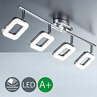 B.K.Licht LED Ceiling Light for Living Room & Kitchen I LED lamp I Light Fitting I rotatable and pivotable I I Modern Style I Angular, Chrome Design I Warm White I 4 x 4 W LED modules I 230 V I IP20