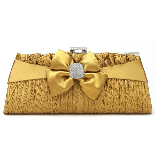 Damara Glamour Zierschleife Damen Strass Clutch Abendtasche,Schwarz Gold