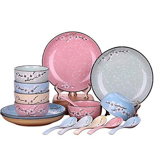 Bol Set de vaisselle en céramique couleur simple set japonais 16 boîte cadeau combinaison