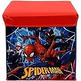 Baby Grow Children's Toy Box Kids Storage Bench Folding Stool Under Lid Toy Chest Organizer (Blue Spider)