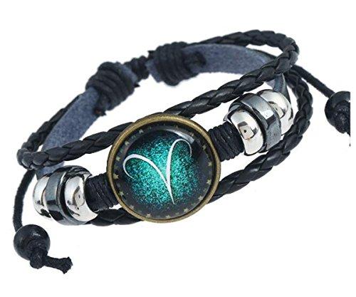 MeiPing Sternzeichen Constellation Astrologie Armband Charm Leder Armband Armreif