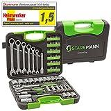 STARKMANN Greenline Steckschlüssel-Satz Gabelschlüssel mit Ratschenfunktion Werkzeug Box Kiste Bits Maulgabelschlüssel 104tlg