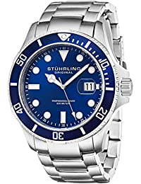 Stuhrling Original Aquadiver Regatta Espora Men's Quartz Watch with Blue Dial Analogue Display and Silver Stainless Steel Bracelet 417.03