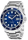 Stuhrling Original 417.03 - Montre Quartz - Affichage Analogique Bracelet Acier inoxydable Argent et Cadran Bleu - Hommes